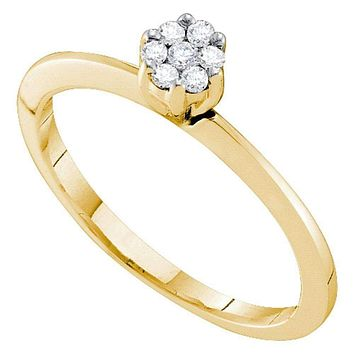 10k Gold Women's Round Diamond Cluster Bridal Promise Ring - FREE Shipping (US/CA)
