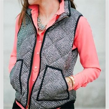 Autumn&winter Real Photo Designer Inspired Cotton Textured Herringbone Quilted Puffer Vest Gold Zipper