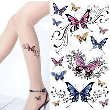 2PCS Transfer Tattoo Stickers On His Arm Stencils For Tattoos Henna Paste Temporary Tattoos For Women