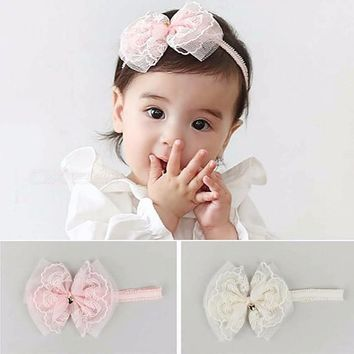 Lovely Kids Headband, Rhinestone Pearl Lace Bow Headwear Hair Band, Newborn Photography Props Pink