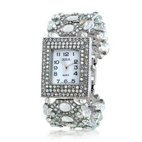 Bling Jewelry CZ White Simulated Opalite Womens Strand Evening Wear Watch Rhodium Plated