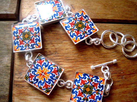 Portuguese jewelry tile mural bracelet from for Mural jewellery