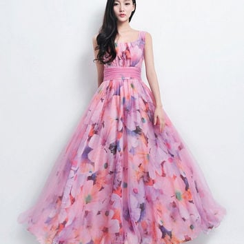 SALE Bohemian Pink Floral Print Tulle Beach Wedding Bridesmaid A-line Dress Full Pleated Skirt Holiday Fashion Boho Prom Ball Gown