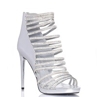 Wild Rose Sandford22 Rhinestone Ladder Cutout Heels - Silver from Wild Rose Shoes at ShopRoxx.com