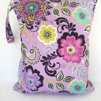 Wet Bag, waterproof washable wetbag, you pick size, wet bags for cloth diapers, swimsuits, purple