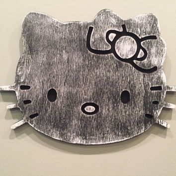 Hello Kitty wall decor, nursery wall decal, girls room decor, Hello Kitty wall art, nursery wall art, baby gift, girls present, carved,