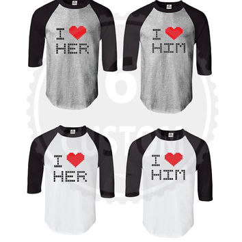 I Heart Her & I Heart Him (Baseball Tee) Couple Shirts SET OF 2