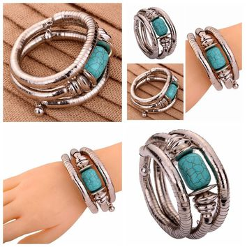 Fashion Shiny Jewelry Tibetan Silver Bangle Turquoise Bead Chain Adjustable Gift