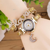 Womens Girls Handmade Love Band Strap Bracelet Watch Best Gift watches-446