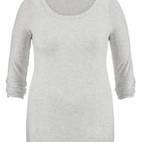 Plus Size - Heather Gray Lightweight Ultra Soft Tunic Pullover - Beige