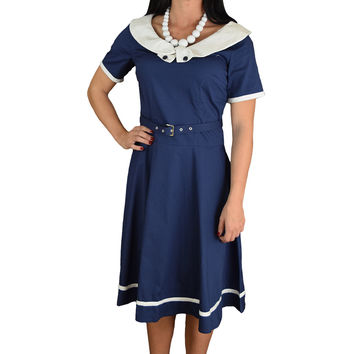 50's Retro Vintage Office Lady White Boat Collar Navy Flare Dress