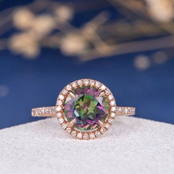 7mm Mystic Topaz Ring Unique Rose Engagement Ring Antique Wedding Ring Colorful Rainbow Ring Natural Diamond Paved Women Gift for Women