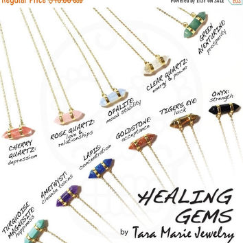 HG HEALING GEMS: Double horizontal hexagon double pointed pendant. 15, 16 or 18 inch layering necklace in gold or sterlng silver. Gift for h