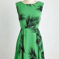 ModCloth Mid-length Sleeveless A-line A Lady's Best Frond Dress