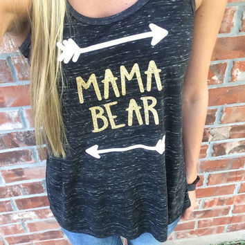 Mama Bear Tanks - Mom Life - Mommy - Tanks - Racerback Tank Top - Custom Shirts - Monogram Option - Momma Bear - Tank Top - Glitter