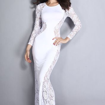 Chicloth White Lace Maxi Dress with Fish Tail Detail