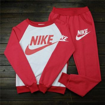 ONETOW Women 'NIKE' Print Top Sweater Sweatshirt Pants Sweatpants Set Two-Piece Sportswear
