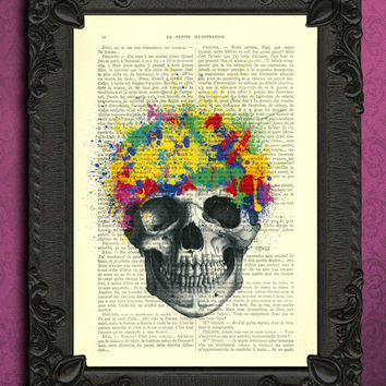 splatter skull, human skull with paint splatter - colorful art