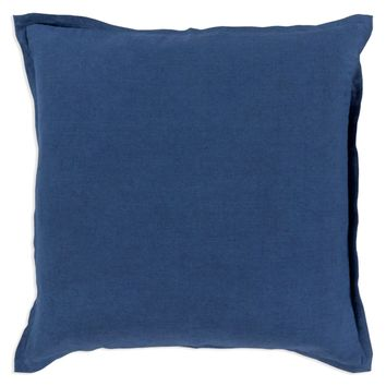 Linen Pillow with Flange - Navy