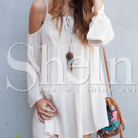 Apricot Long Sleeve Off The Shoulder Dress -SheIn(Sheinside)