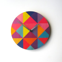 Objectify Grid Wall Clock - Pinky Purple Color Mix