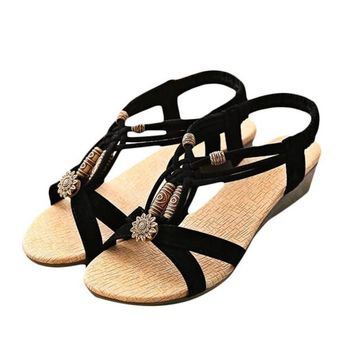 High Quality Women Sandals Casual Peep-toe Flat Buckle Shoes Roman Summer Sandals Size