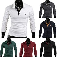 Fashion Men's Slim Fit Long Sleeve T-shirts Casual Polo Shirts Cotton Tee Tops