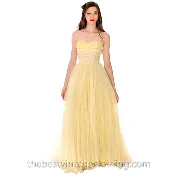 Vtg 1950s Strapless Yellow Tulle  Prom Party Evening Gown Dress SIZE S 32-22-Free