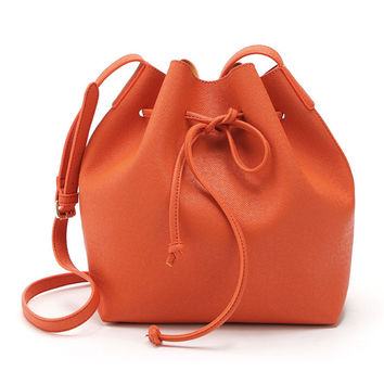 Orange Drawstring Faux Bucket Bag