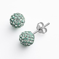 Silver Plate Crystal Ball Stud Earrings (Green)