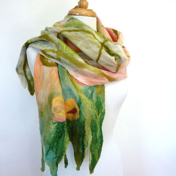 Art Scarf. Large Felt Scarf. Felted Wall Hanging. Table Runner. Australia