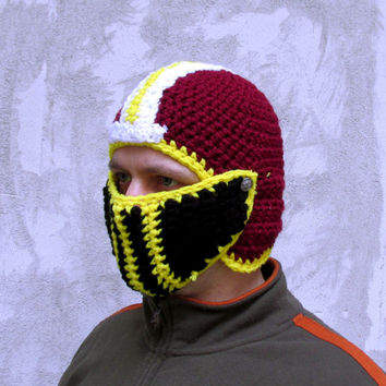 Crochet football helmet face mask nose warmer team spirit Washington redskins burgundy yellow white bike hat