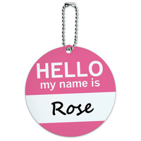 Rose Hello My Name Is Round ID Card Luggage Tag