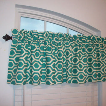 Custom Boutique Geometric Turquoise Valance- Modern Curtain for Kitchen, Bathroom, Laundry, Bedroom, living room - Window Treatments
