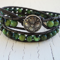 Green Wrap Bracelet, Green Turquoise, Green and Black, Leather Wrap Bracelet, Lucky Bracelet, Four Leaf Clover Jewelry, Boho Bohemian Chic