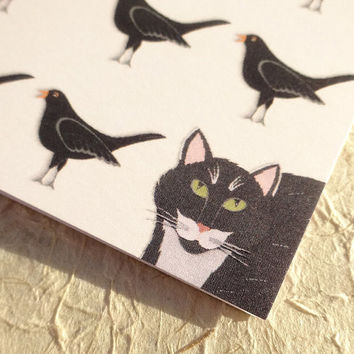 Blackbird & cat card, hand illustrated black cat and black birds wildlife card, woodland animal blank bird and cat notecard