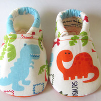 Little Piggies Baby Shoes- Orange, Blue, Green, and White Dinosaur Baby Boy Shoes