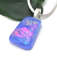 Periwinkle Fused Glass Pendant with Dichroic Glass in Pink Blue Peach