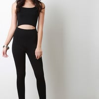 Sleeveless Midriff Cutout Jumpsuit
