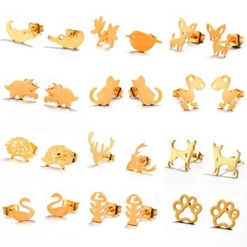 2018 New Cute Animal Stud Earrings For Women Girl Fashion Mini Golden Sliver Stainless Steel Ear Studs Minimalist jewelry Gifts