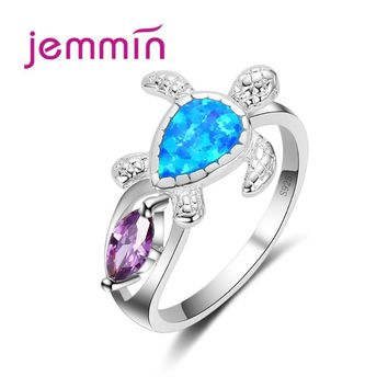 Jemmin 2017 Fire Opal Ring Blue and Purple Color wedding Band luxury Turtle jewelry 925 Sterling Silver Ring for Women
