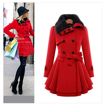Hot Sale Women's Fashion Slim Double Breasted Thicken Jacket with Belt [9377724420]