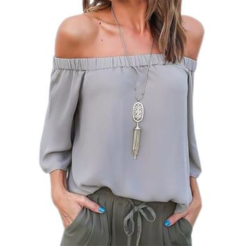 Women's Gray Off the Shoulder Adjustable Back Tie Chiffon Blouse