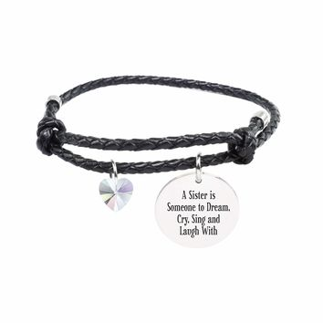 Genuine Adjustable Leather Cord Bracelet - A SISTER
