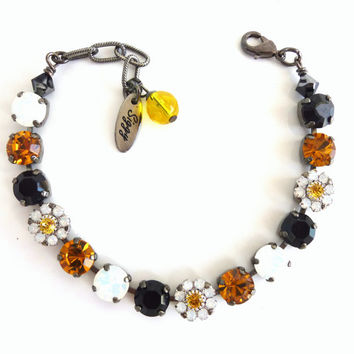 Swarovski crystal bracelet, team spirit, Steelers colors, black, yellow, white, flowers, Designer inspired bling bling