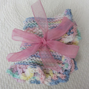 Knit Dishcloth,Washcloth,Dish Rag,Wash Rag Set of three Made with 100% Cotton,Kitchen Decor,Great Gifts,in Pastels Ready to ship