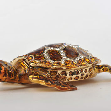 Amber Sea Turtle Faberge Styled Trinket Box Handmade by Keren Kopal Enamel Painted Decorated with Swarovski Crystals