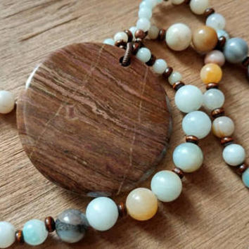 FREE SHIPPING - Beaded Necklace - Boho Amazonite Stone Necklace with Jasper Pendant - Earthy Necklace - Natural Jewelry - Gypsy Jewelry