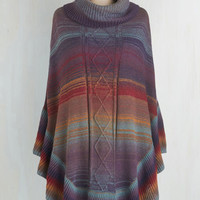 Folk Art Long Sunset Snuggle Poncho
