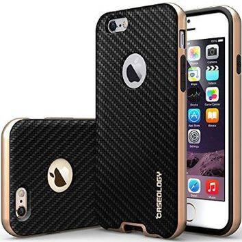 iPhone 6 Case, Caseology® [Envoy Series] Premium Leather Bumper Cover [Carbon Fiber Black] [Leather Bound] for Apple iPhone 6 (2014) & iPhone 6S (2015) - Carbon Fiber Black